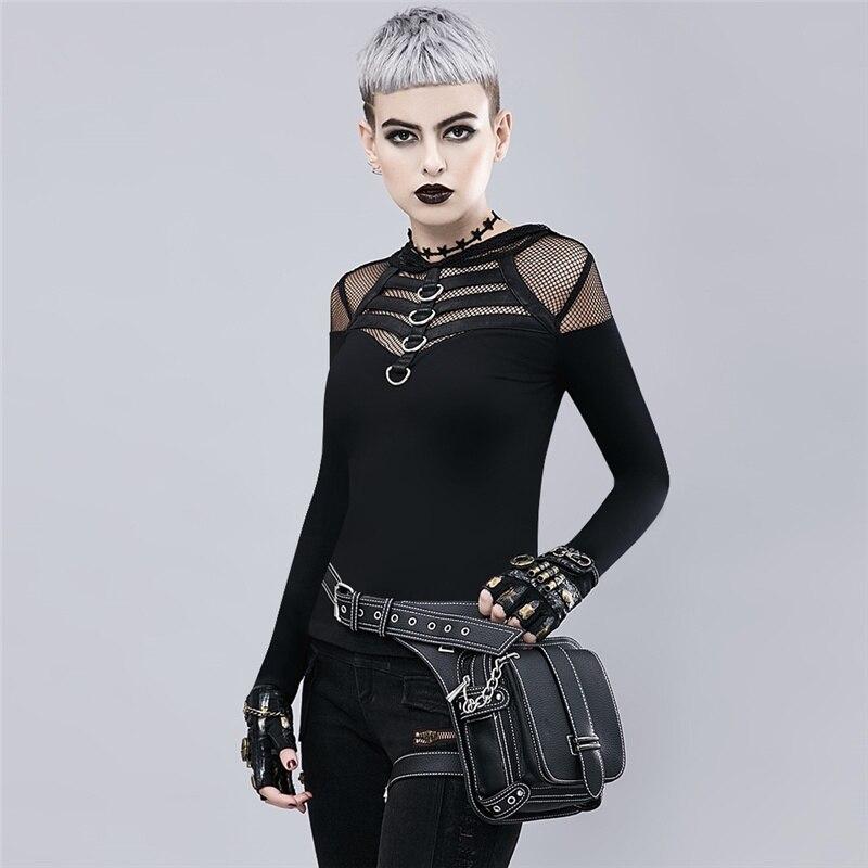 D'épaule Punk Taille Sacs Moto Messager Rétro Noir Extérieure De 4j35ALR