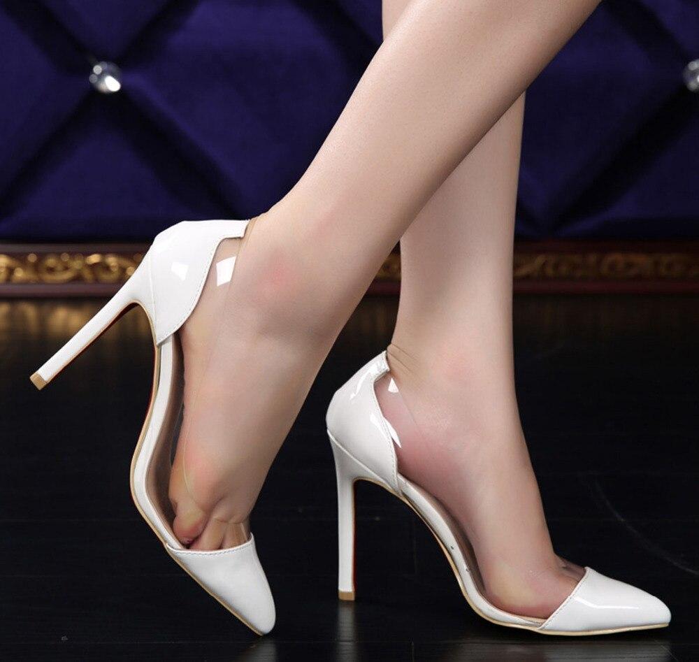 Talons hauts Sexy nouvelle mode See-Through bout pointu femmes chaussures talons minces chaussures à talons hauts femmes pompes hauteur 11 CM