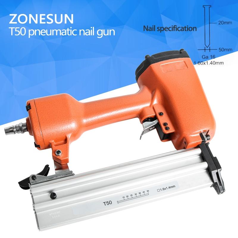 цена на ZONESUN T50 Pneumatic Air Stapler Gun Stapler Nail Stapling Machine For Furniture Woodworking Carpentry Decoration Carpenter50mm