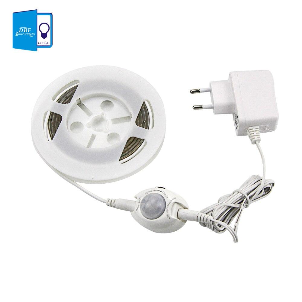 [DBF] movimiento activado cama luz Flexible tira de LED Sensor de luz de la noche la iluminación con cierre automático temporizador