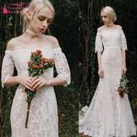 Ivory Lace Nude Lining Mermaid Long Lace Wedding Dresses Vintage Off The Shoulder Half Sleeves Wedding Bridal Gown DQG616
