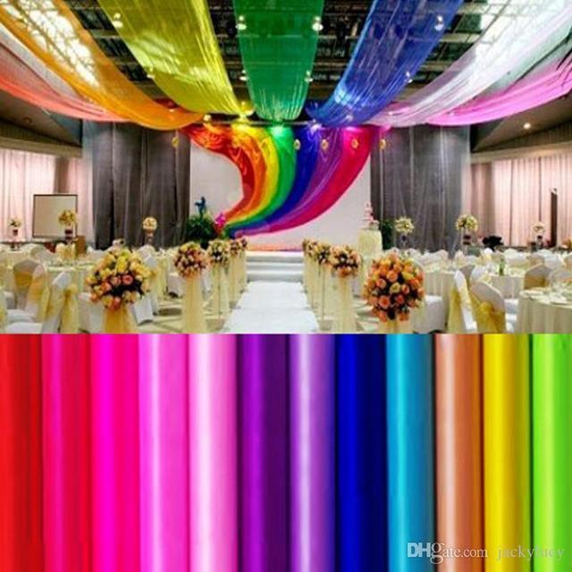US $30.0  27 Farben Bandrolle Organza Tüll Garn Stuhlhussen Zubehör Für Hochzeit Hintergrund Vorhang Dekorationen Lieferungen 50 mt in 27 Farben