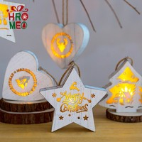 Nordic ins wooden Christmas stars love led lights pendant Christmas decorations gift gift ornaments