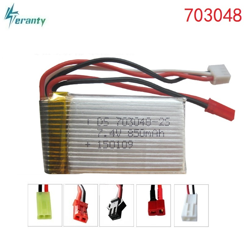 7,4 V 850 mAH 703048 Lipo Batterie Für Udi U829A U829X MJXRC X600 HQ 907 fernbedienung Li-po batterie 7,4 V 850 mAH 20C JST SM stecker