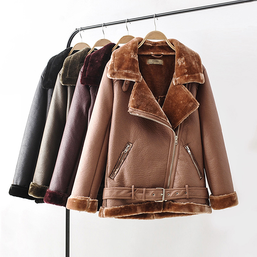 Black Women Faux Leather Jacket PU Female Winter Fur Collar Burgundy Outwear Girls Casual Camel Liner Warm Military Hairly Coats|Leather Jackets| - AliExpress