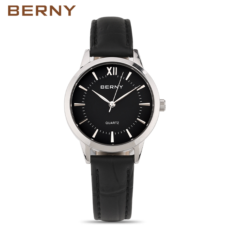 Women Watches Brand BERNY Fashion Quartz-Watch Women's Wristwatch Clock Leather Strap Ladies Watch Business Montre Femme 2680L kingsky new fashion small women watches famous design quartz watch black pu leather strap wristwatch