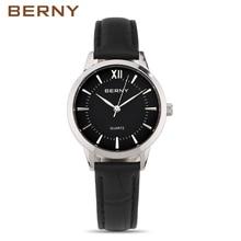 Women Watches Brand BERNY Fashion Quartz-Watch Women's Wristwatch Clock Leather Strap Ladies Watch Business Montre Femme 2680L