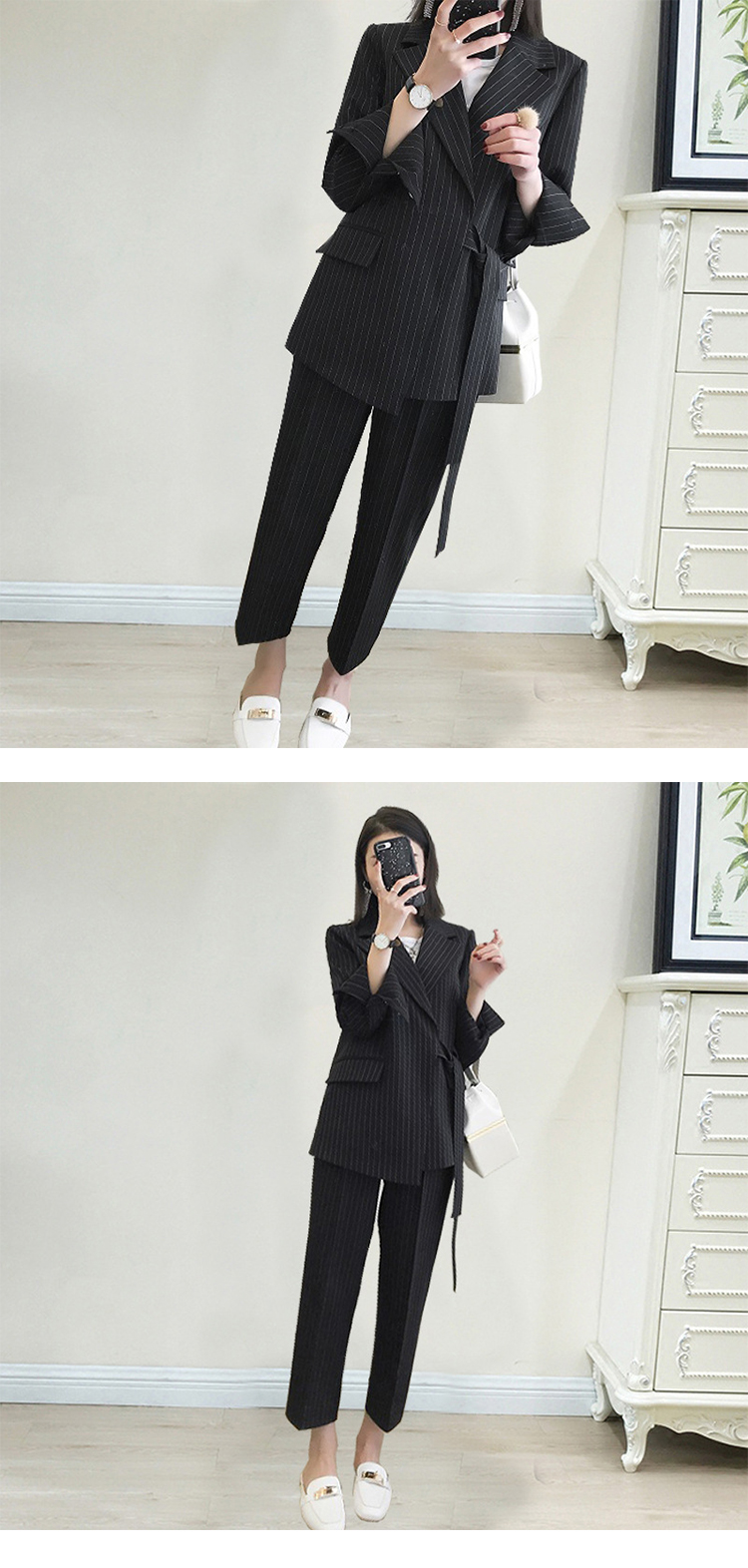 New arrival women plus big size pant suit professional temperament fashion warm suit elastic waist pant comfortable pant suits 4
