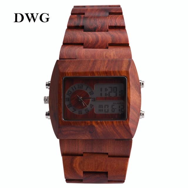 DWG Retro Two-movement Quartz Digital Movt Watch Men Wood Watch LED Light Luxury Man Wirstwatch Solid Wooden Strap Hand Clock