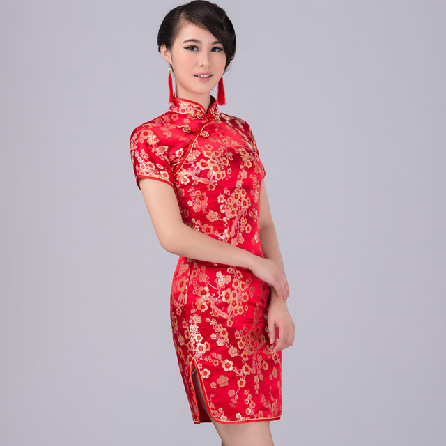 Red / Pink QiPao Chinese Women Traditional Short Sleeve Lady Cheongsam Female Evening Party & Wedding Dresses