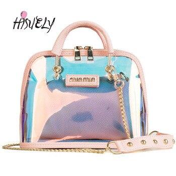 2019 HOT Sale Women Transparent Bag Clear PVC Jelly Small Shell Bag Handbag Laser Holographic Shoulder Bags Female Lady Sac grande bolsas femininas de couro