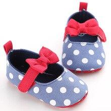 2019 Newborn Polka Dot Baby Shoes Fashion Girl Retro Printed First Walker Toddlers Kids Soft Bottom Cotton