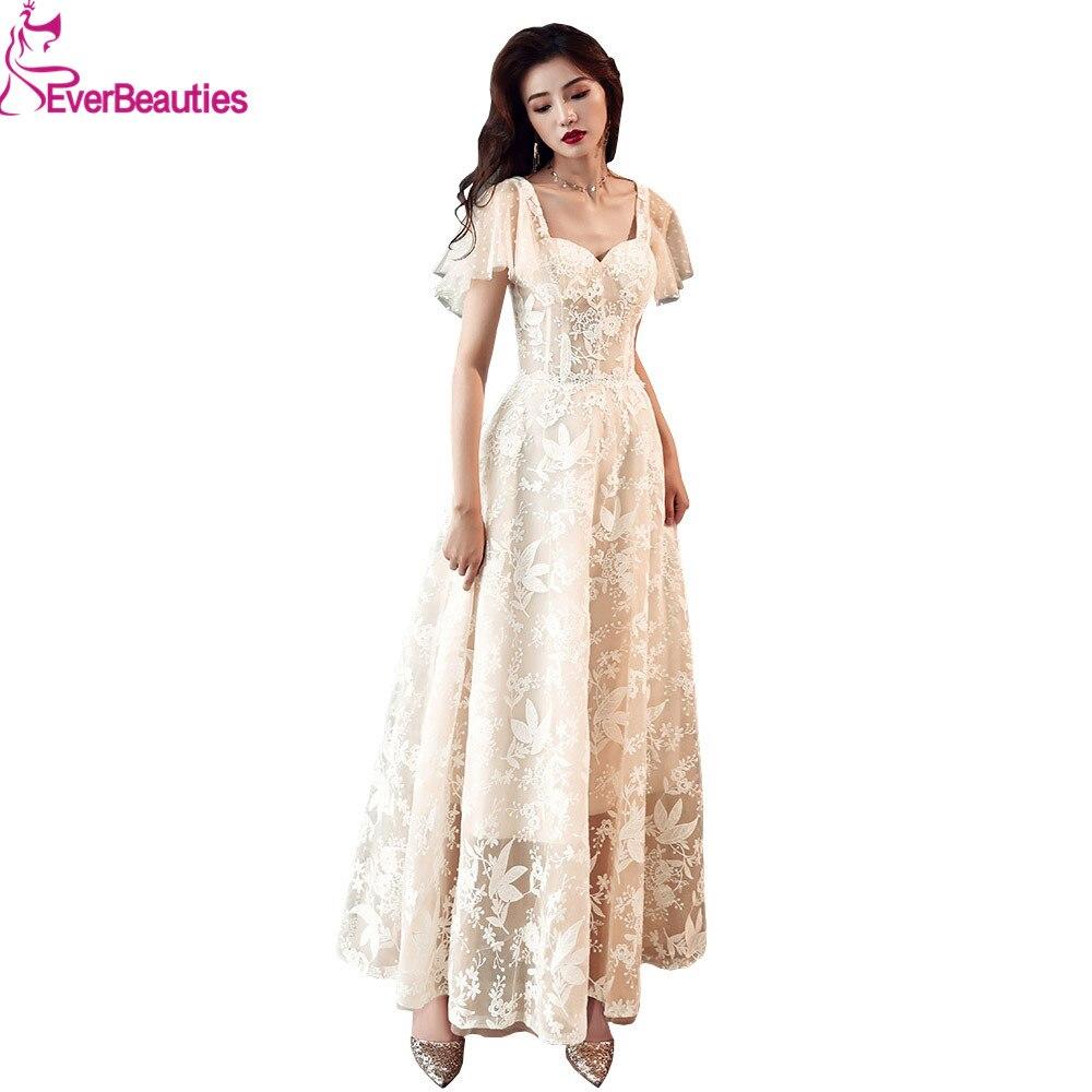 Élégante longue Robe De soirée nouveau Style Tulle dentelle Robe De soirée fleur Abiye bal Robe De soirée robes De soirée