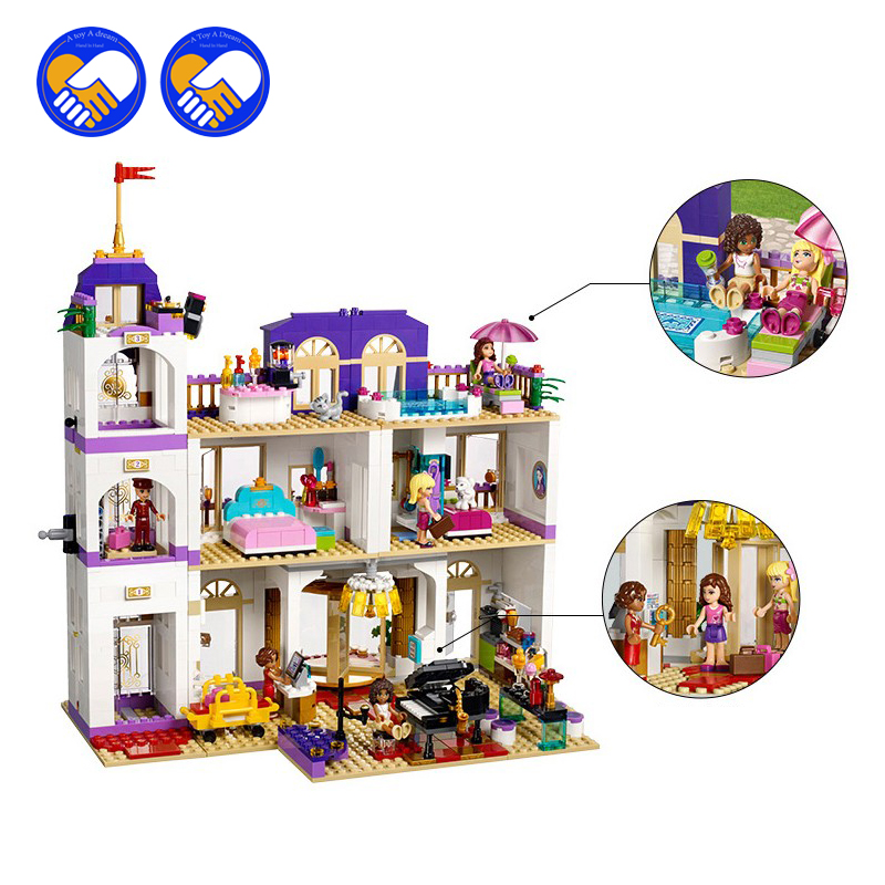 (A Toy A Dream)10547 Girl Series Heart Lake City Hotel Girl Friends Building Blocks Figures Bricks Toys Compatible with a toy a dream lepin 24027 city series 3 in 1 building series american style house villa building blocks 4956 brick toys