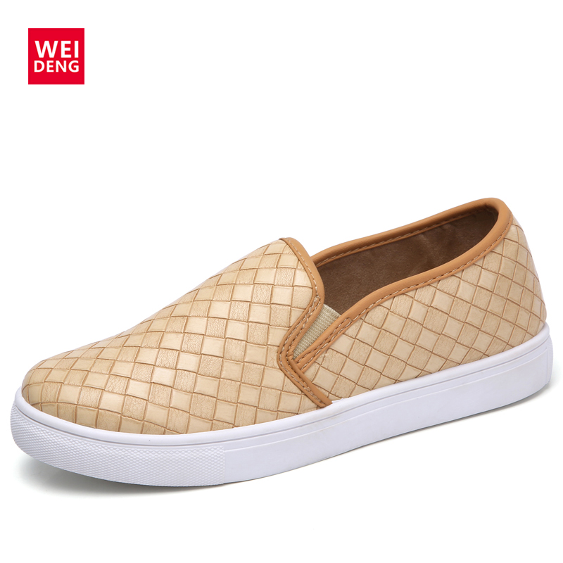 WeiDeng Casual Weave PU Leather Vulcanized Shoes Women Loafers Breathable Flats Platform Slip On Boat Shoes Moccasins цена и фото