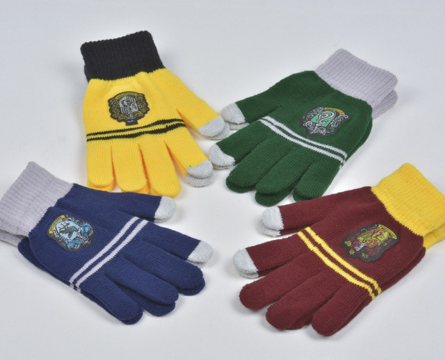 Gryffindor\Slytherin\Ravenclaw\Hufflepuff College Gloves Winter Warm Touch Screen Gloves Halloween Gift Harry Gloves