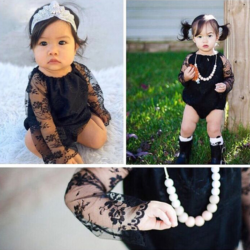 Tiny cotton Black Newborn Infant Baby Girl Romper Clothes Long Sleeve Lace Princess Girls Jumpsuit One Pieces Sunsuit Clothes newborn infant baby girl clothes strap lace floral romper jumpsuit outfit summer cotton backless one pieces outfit baby onesie
