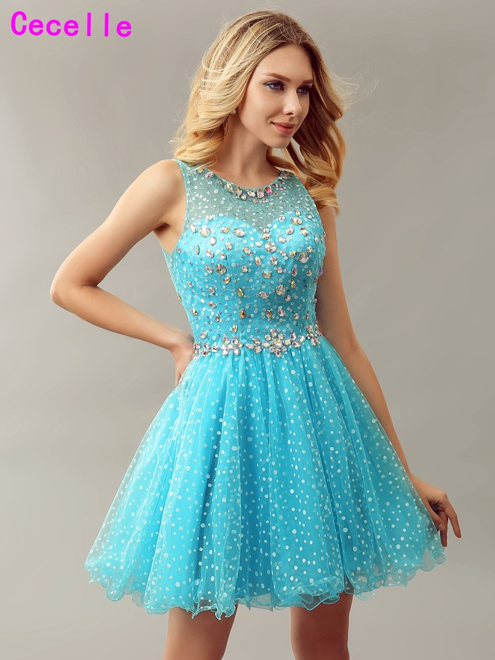Sparkly Blue A line Short Girls   Cocktail     Dresses   For Juniors Crystal Sheer Back 2019 Real Cute Teens   Cocktail   Party   Dress