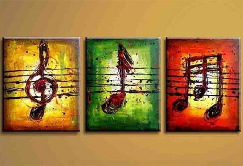 3 Piece Wall Art Pictures Handpainted Graffiti Inked Canvas Paintings Modern Abstract Music Note Line Oil Painting Home Decor