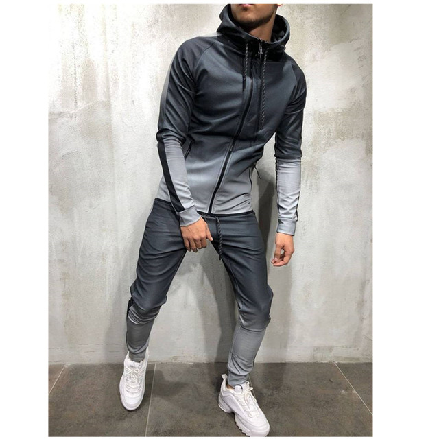 2pcs men sportswear tracksuit zip up hoodies sweatshirt+pant running jogging leisure fitness gym workout athletic set sport suit