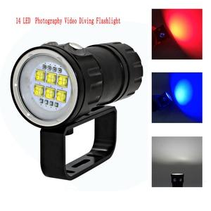 Image 3 - LED צלילה פנס XHP70 / 90 LED צילום וידאו אור 20000LM מתחת למים 100m עמיד למים טקטי לפיד מנורה