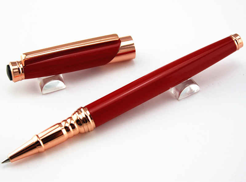Aliexpress Style 163 Rose Gold Clip Red Resin Roller Ball Pen With Office Stationery Luxury Mb Crocodile Pattern Leather Bag From Reliable Gift