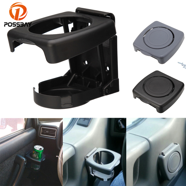 POSSBAY Black /Grey Car SUV Vehicle Folding Beverage Drink Bottle Can Coffee Cup Mount Stand Holder Universal Car Cup Accessries