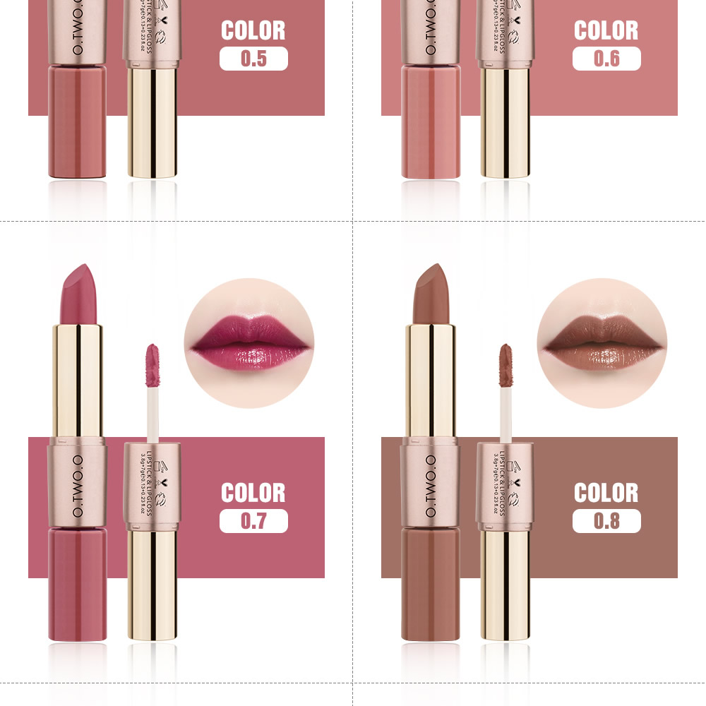 2 in 1, 12 Color Matte Liquid Velvet Gloss Lipstick