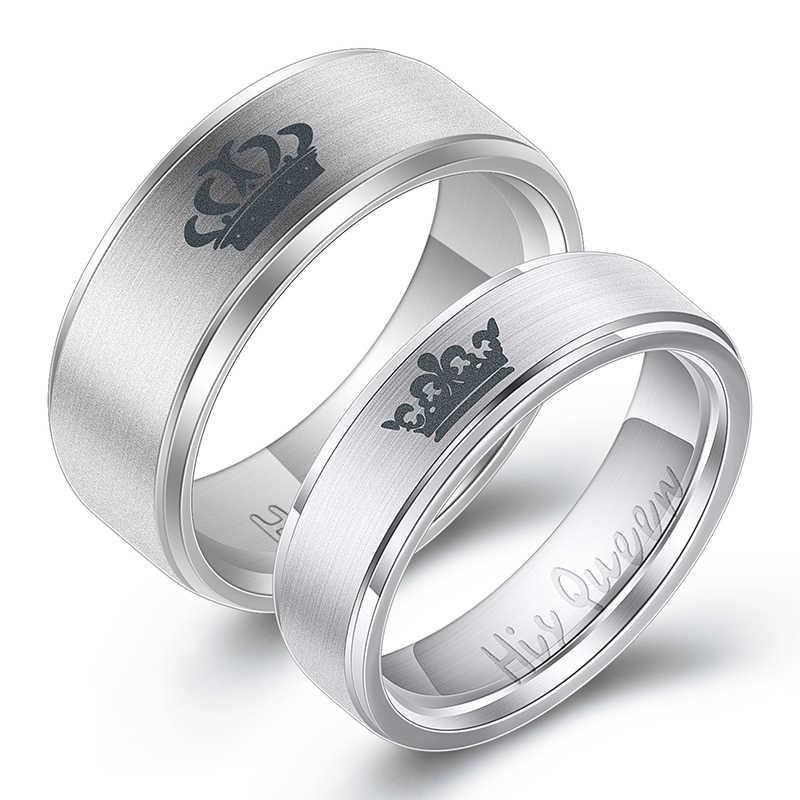 ผู้หญิงของเขา Queen สแตนเลสแหวนเงินสีการออกแบบที่เรียบง่ายของเธอ King คู่แหวนสำหรับชายหญิง