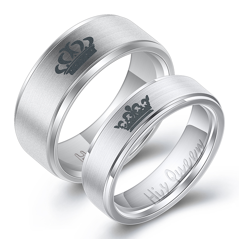 Women His Queen Stainless steel Ring Silver Color Simple Design Her King Couple Ring Wedding Ring for Female Men 4