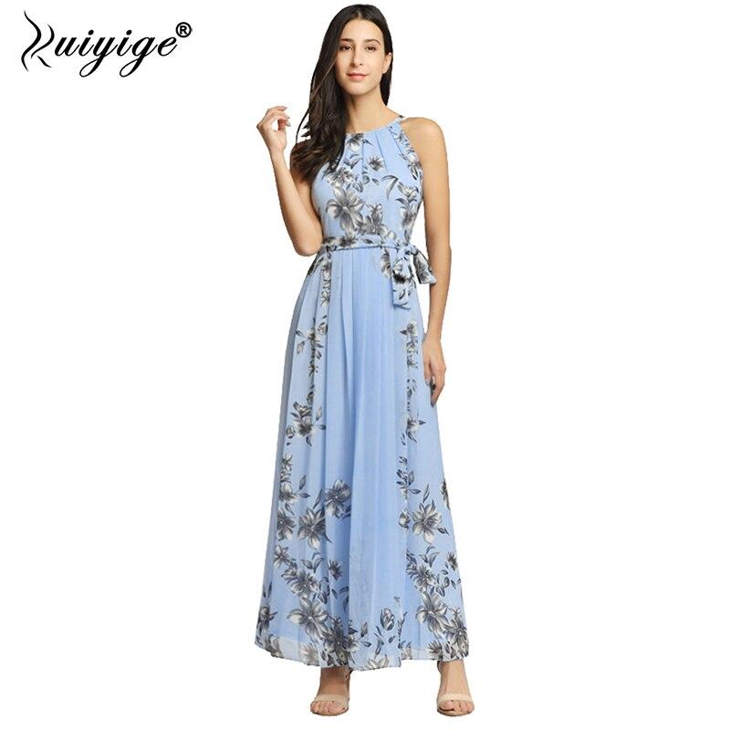 Ruiyige 2018 Summer Halter Maxi Dress Women Chiffon Strapless Floral Print Dress Pleated Long Party Boho Belt Beach Vestidos