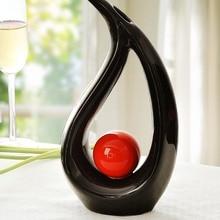 ceramic black flower vase designs home decor crafts room wedding decoration handicraft figurine garden ornament porcelain statue