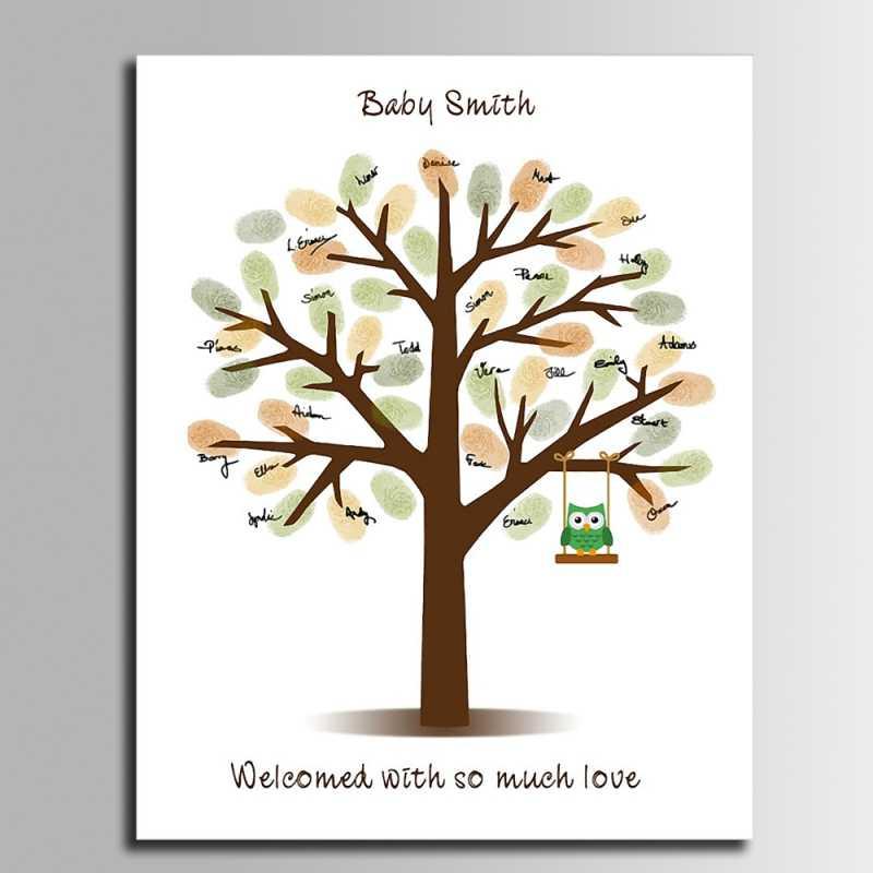 Гостевая книга Baby Shower дерево с отпечатками пальцев качели Сова Холст печать декор для вечеринки в честь Дня Рождения живопись пальцами Comunion сувенир
