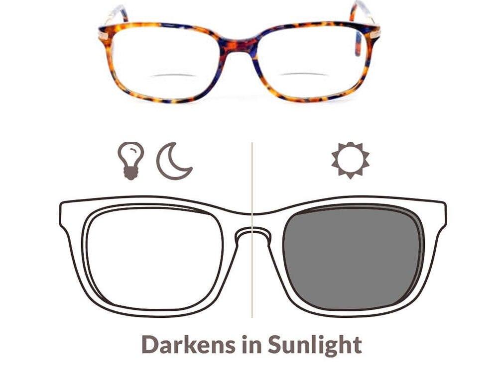 a4994cf54b 1.56 Aspheric Photochromic Bifocal Sunglasses Prescription Lenses For Myopia  and Reading DD1505