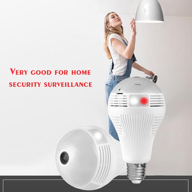 360 Degree Bulb Camera Security Mini Wireless Lamp WIFI IP Cameras Fisheye Panoramic Bulb HD 960P WIFI Network Remote Monitor