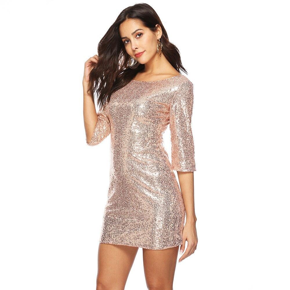 0e171b4a7d glitter backless bodycon fashion gold sequin dress sexy vestido frocks  party jurken dresses short woman clothes free shiping