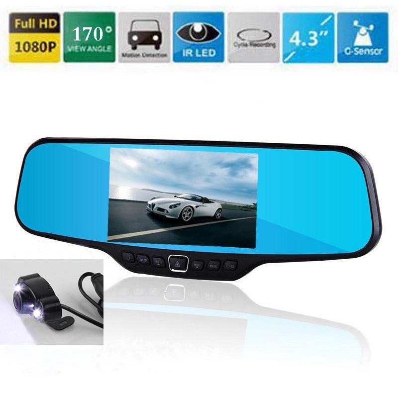 4.3 Dash Cam DVR Rearview Mirror Camera 170 Degree View Angle Full HD 1080P 30FPS 12.0MP CMOS 4.3 Dash Cam DVR Rearview Mirror Camera 170 Degree View Angle Full HD 1080P 30FPS 12.0MP CMOS