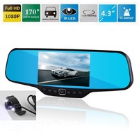 4.3 Dash Cam DVR Rearview Mirror Camera 170 Degree View Angle Full HD 1080P 30FPS 12.0MP CMOS