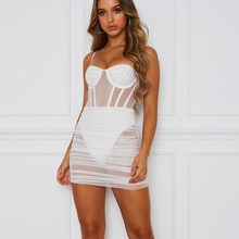 2019 Sexy Mesh Transparent Mini Bodycon Dress Sleeveless Beach Spaghetti Strap Women Backless Club Party Package Hip