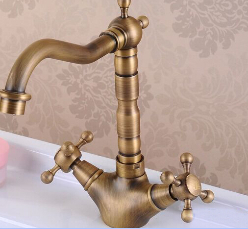 2016 high quality antique brass material bronze hot and cold single lever kitchen faucet sink faucet