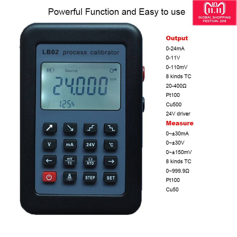 LB02 Résistance Voltmètre Courant Générateur de Signal Source Calibrateur de Process 4-20mA/0-10 v/mV LCD Affichage Mise À Jour de LB01 lb02