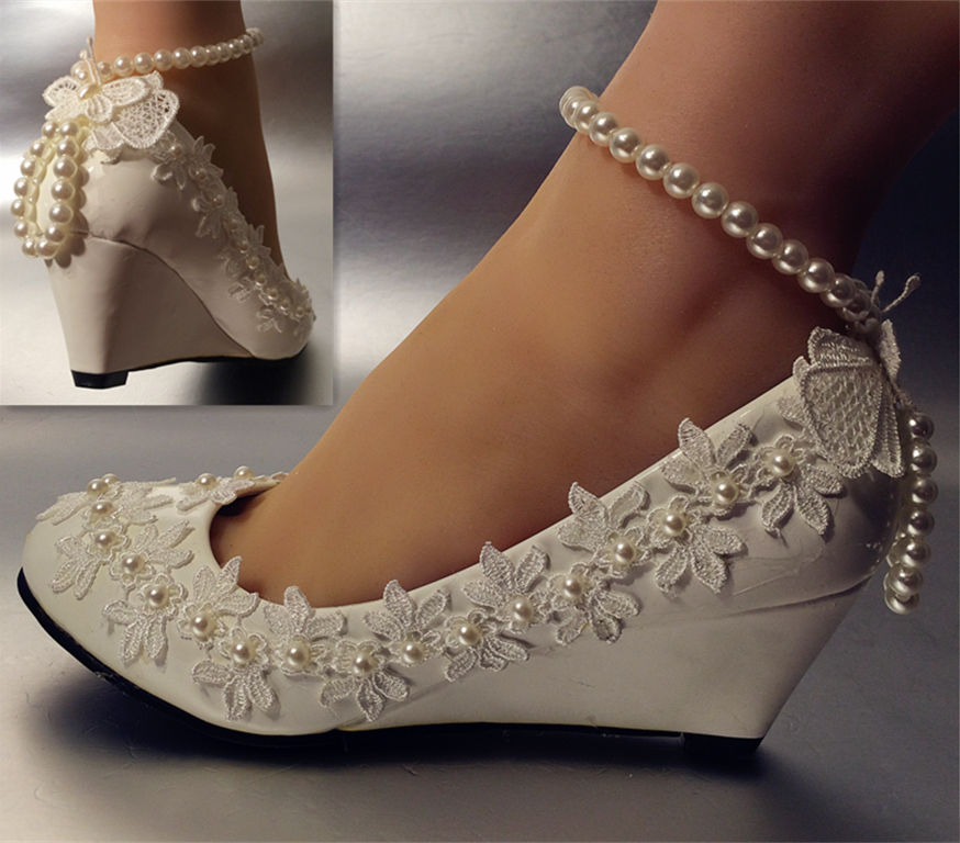 New design fashion wedges heel spike low high heeled white wedding shoes womens ankle pearls butterfly