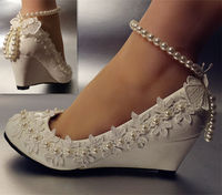 New Design Fashion Wedges Heel Spike Low High Heeled White Wedding Shoes Womens TG481 Ankle Pearls