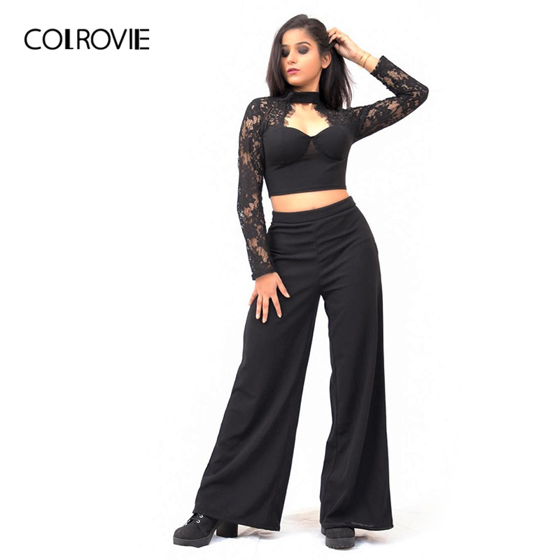 e5ae9bc03f56 COLROVIE Black Long Sleeve Cut Out Sexy Lace Two Piece Set Crop Top and Pants  Suit Set 2018 Autumn Outfit Elegant Women Set-in Women's Sets from Women's  ...