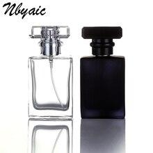 1Pcs30ml50ml di alta qualità bottiglia di profumo di vetro atomizzatore bottiglia di profumo nero trasparente spray bottiglia di cristallo trasparente quadrato