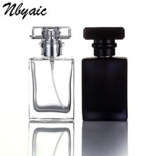 1Pcs30ml50ml high quality glass perfume bottle atomizer perfume bottle transparent black spray bottle crystal transparent square