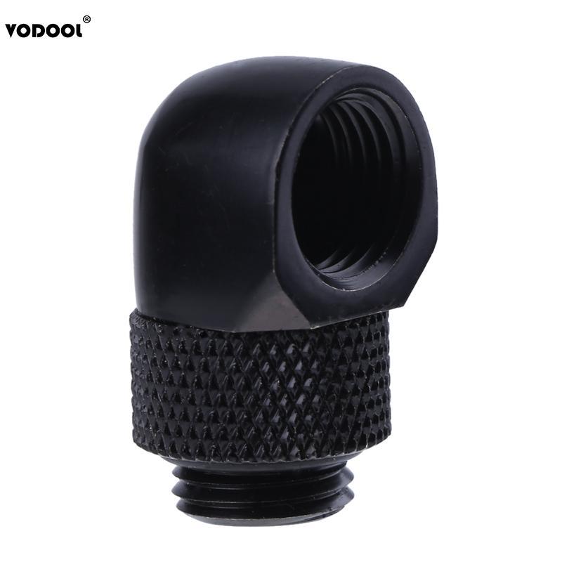 ПК трубка для охлаждения воды адаптер G1/4 внутренняя внешняя Двойная резьба 90 градусов поворотный водяной трубчатый коннектор адаптер черный серебристый 2 цвета - Цвет лезвия: Black