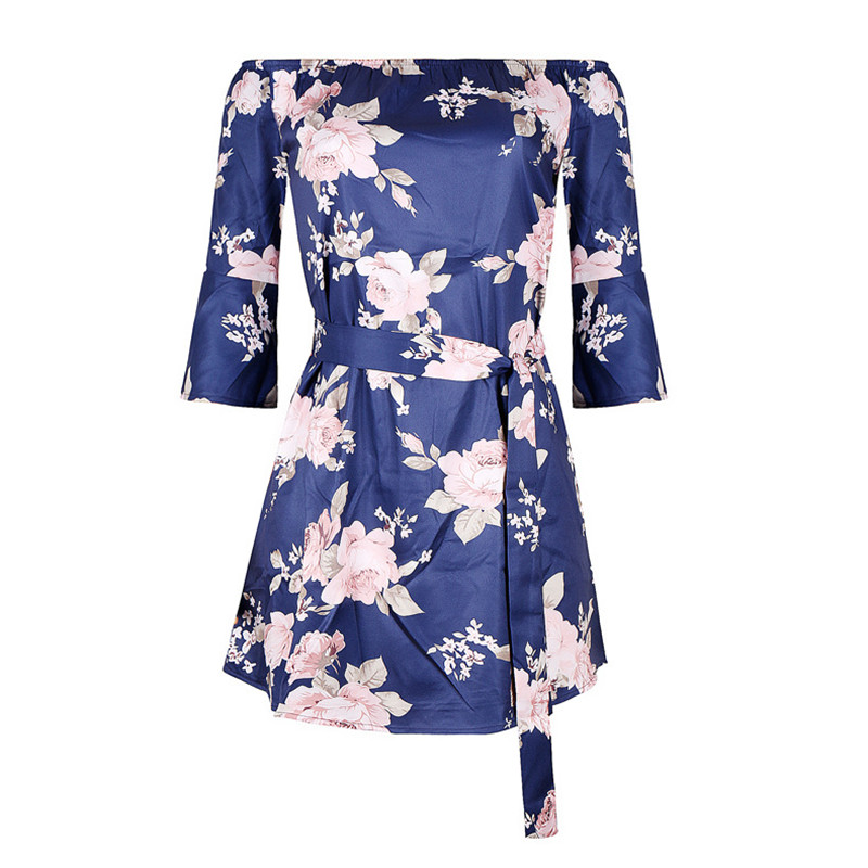 Casual Womens Bohemian Style Dress Blue Print Speaker Five-point Sleeve Sexy Word Collar 2018 New Leisure Holiday Beach Dress