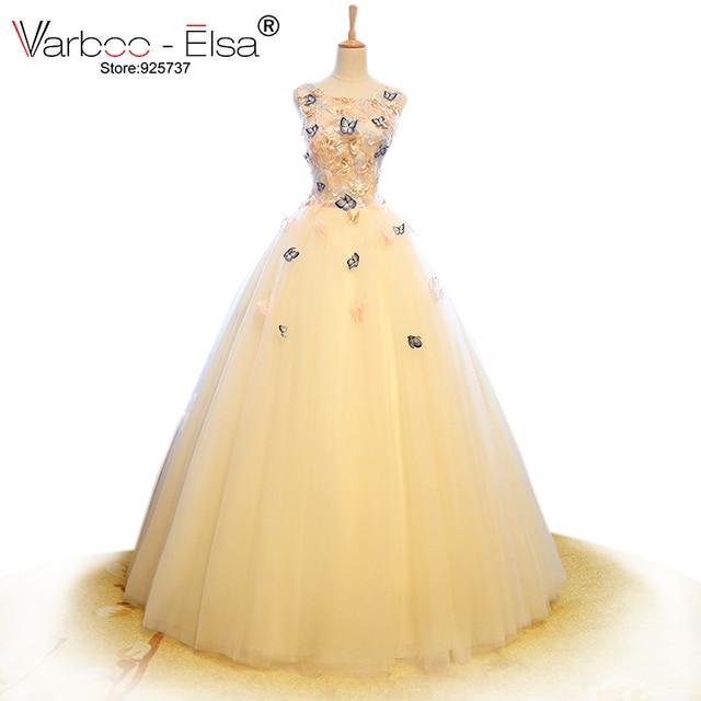 varboo_elsa 2018 3d mariposa apliques vestido de novia bordado china