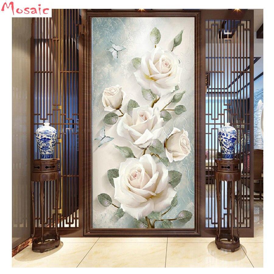 Glass rose Painting Full Drill 5D Diamond Cross Stitch Kits Embroidery DIY
